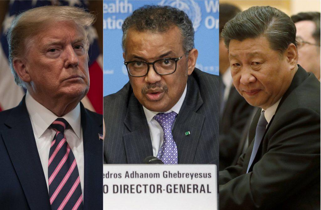 Donald Trump, le président des Etats-Unis ; Tedros Ghebreyesus, le patron de l'OMS ; Xi Jinping, président de la Chine.