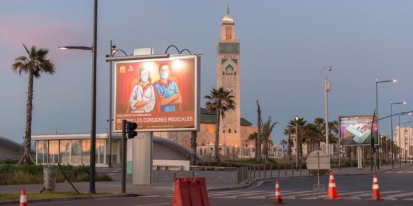 Les rues de Casablanca, désertées pendant le confinement, en avril 2020..