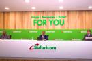 De gauche à droite : Nicholas Nganga, président de Safaricom, Peter Ndegwa, directeur général et Sateeh Kamath, directeur financier. Les trois dirigeants ont présenté les résultats 2019 de l'opérateur en visioconférence.