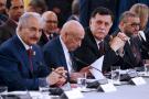 De gauche à droite : le maréchal Khalifa Haftar, Aguila Saleh Issa, Fayez al-Sarraj et Khaled Mechri.