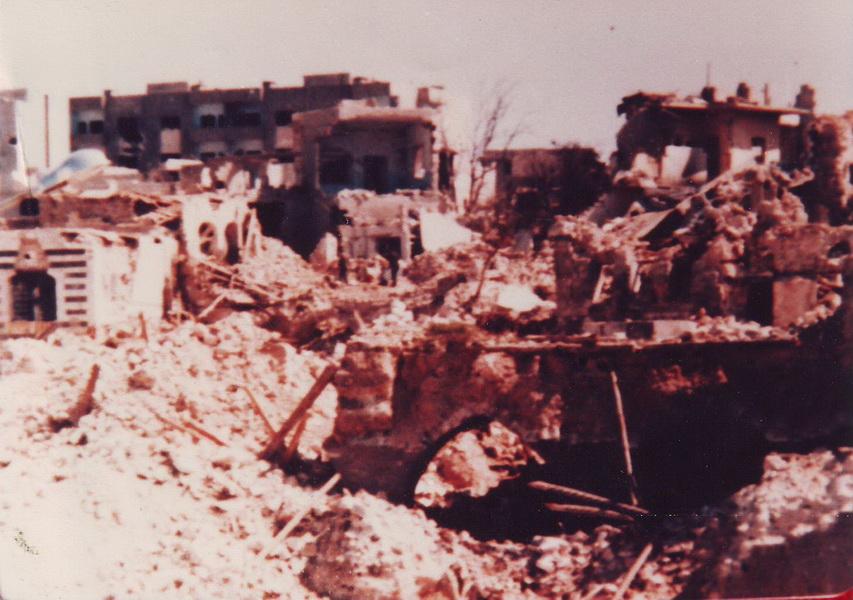 La ville de Hama en ruines, après le massacre de 1982.