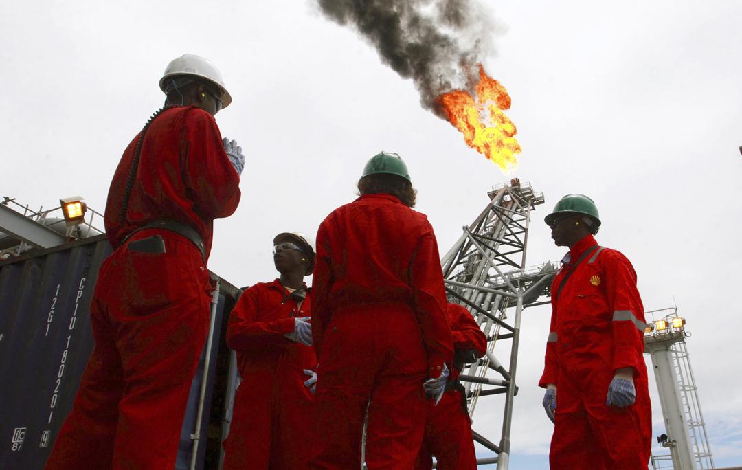 Sur le champ pétrolier offshore de Bonga, au large de Lagos, le 30 octobre 2007.