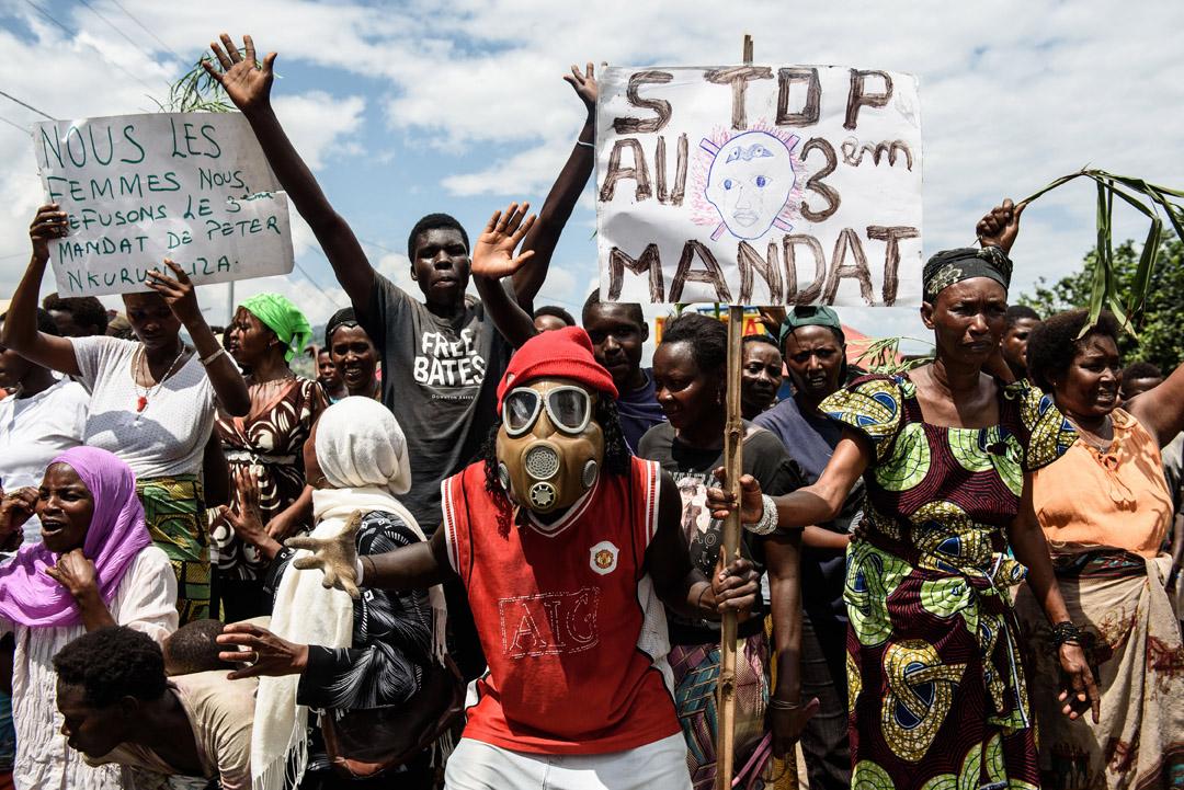 Manifestation contre un troisième mandat du président Nkurunziza en mai 2015, à Bujumbura.