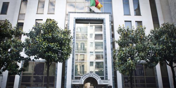 L'ambassade du Cameroun, rue d'Auteuil, à Paris, le 14 mai 2020.
