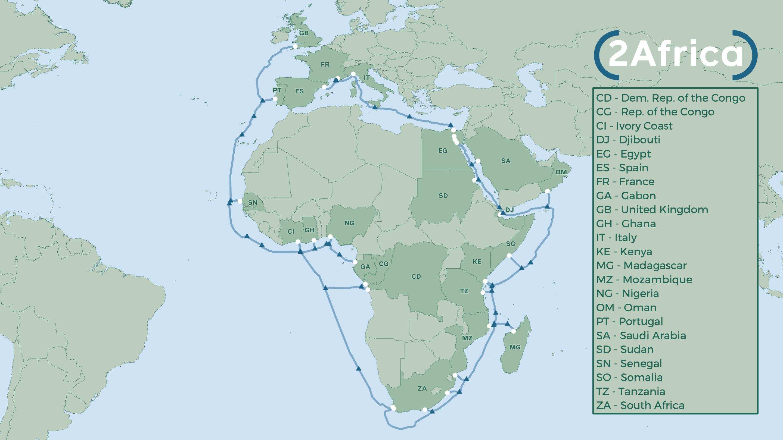 Le tracé du nouveau câble 2Africa qui devrait être mis en service en 2023 ou 2024.