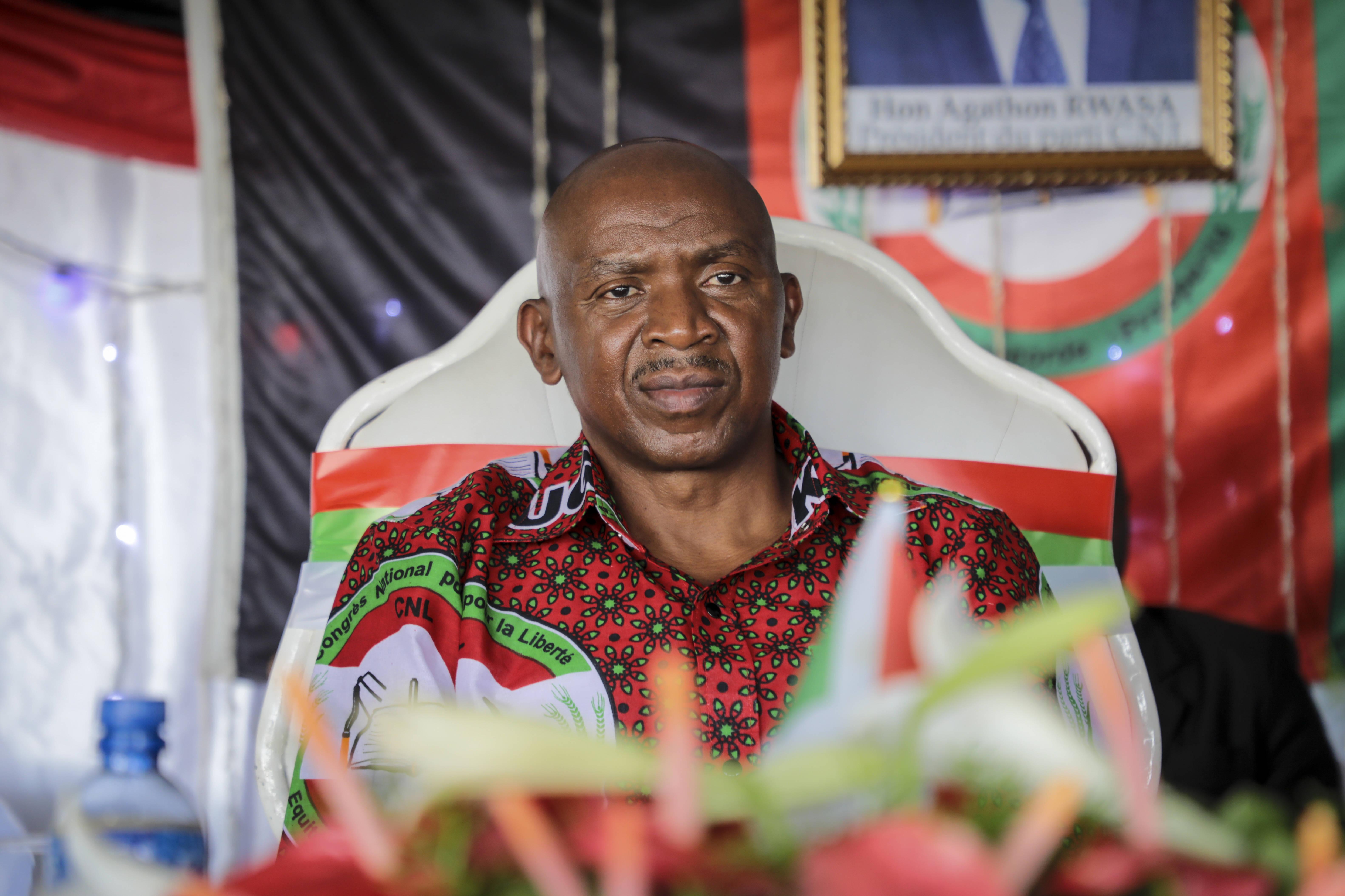 Agathon Rwasa, lors d'un meeting du CNL à Bujumbura, pendant la campagne présidentielle au Burundi, le 16 gévrier 2020.