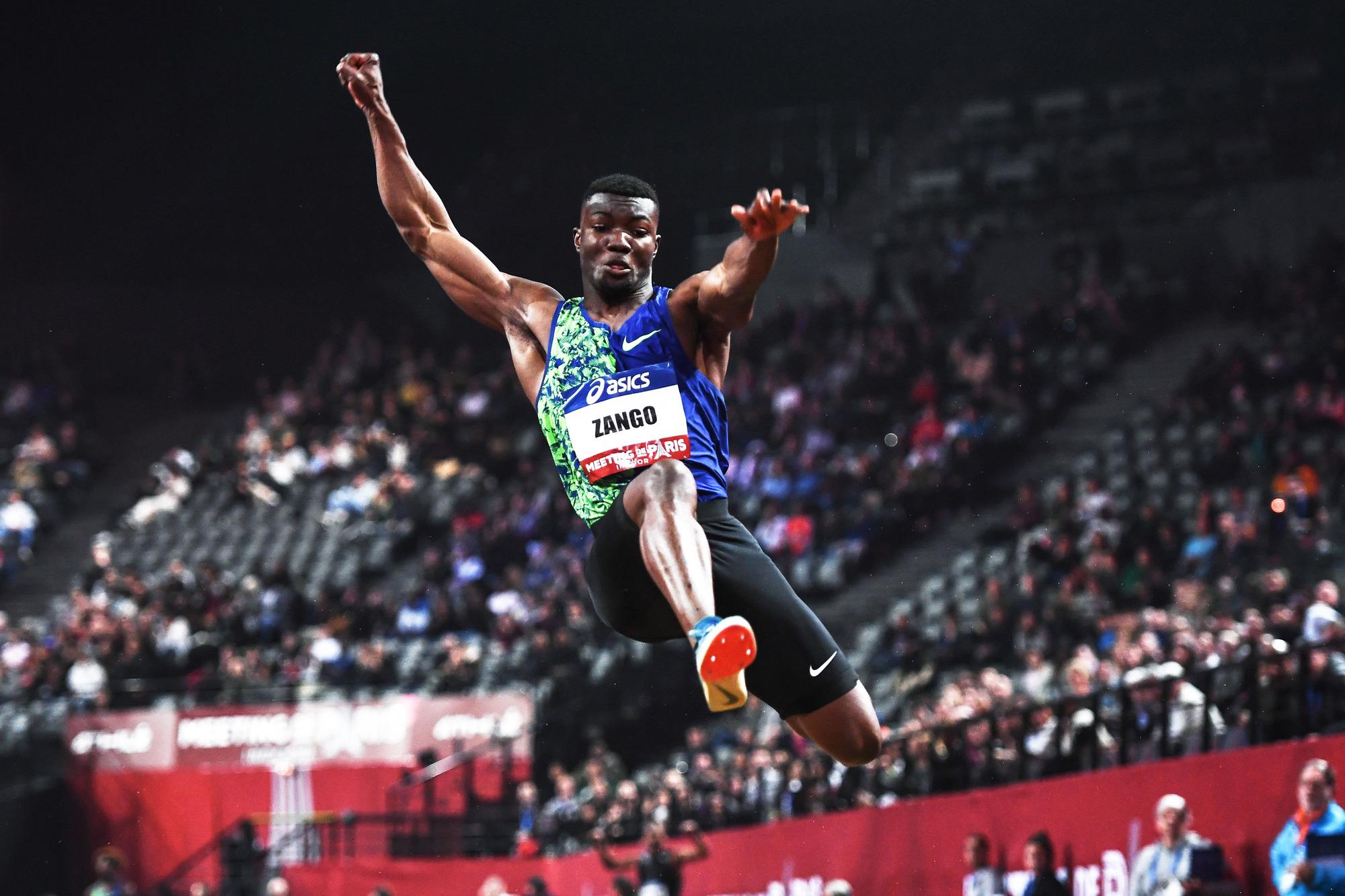 L'athlète burkinabè de triple saut Hugues Fabrice Zango lors du Paris Meeting Indoor, le 2 février 2020.