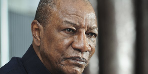 Alpha Condé, président de la République de Guinée, lors d'une interview accordée à Jeune Afrique le 20 octobre 2016, au palais présidentiel à Conakry.