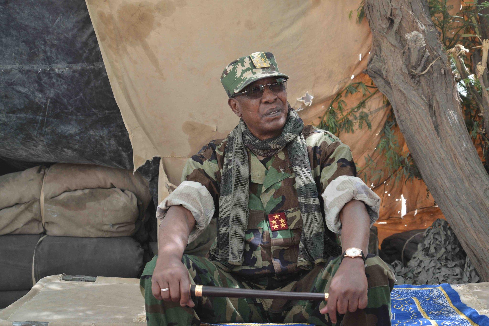 """Le président tchadien Idriss Déby Itno, lors de l'opération """"Colère de Bomo"""", fin mars 2020."""