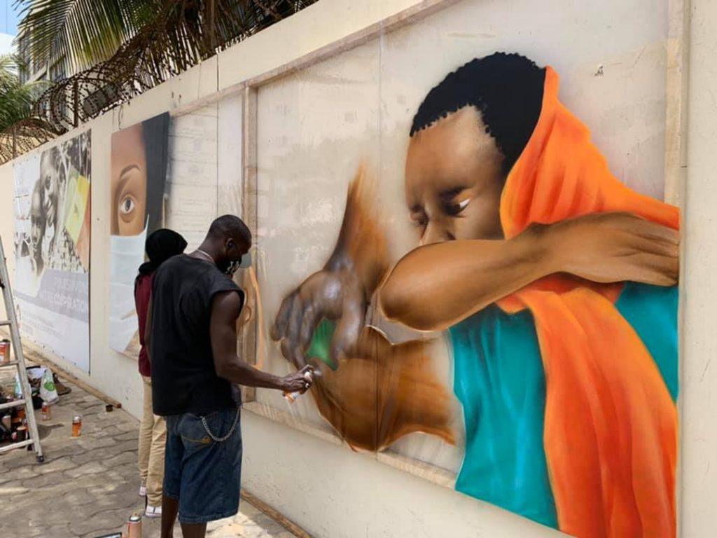 Graffiti de RBS Crew près du siège de l'ONU à Dakar, en 2020.