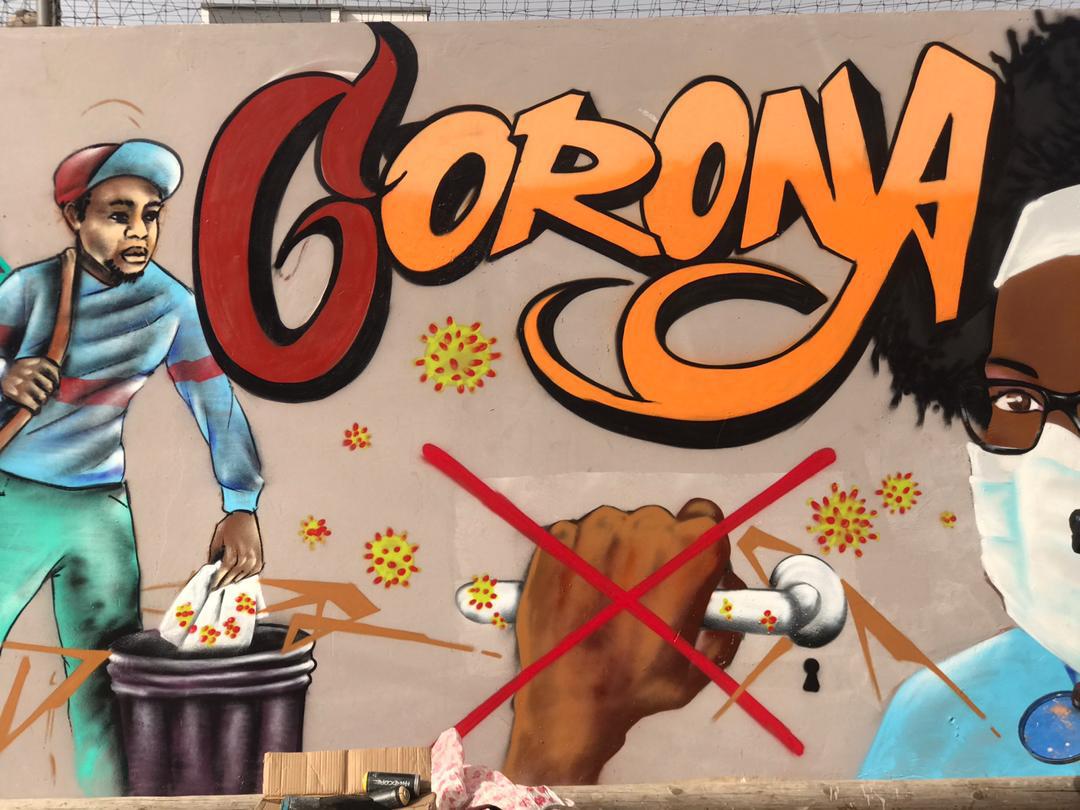 Fresque de Undu Graffiti à Conachap-Scat Urbam, Grand Yoff, Dakar,