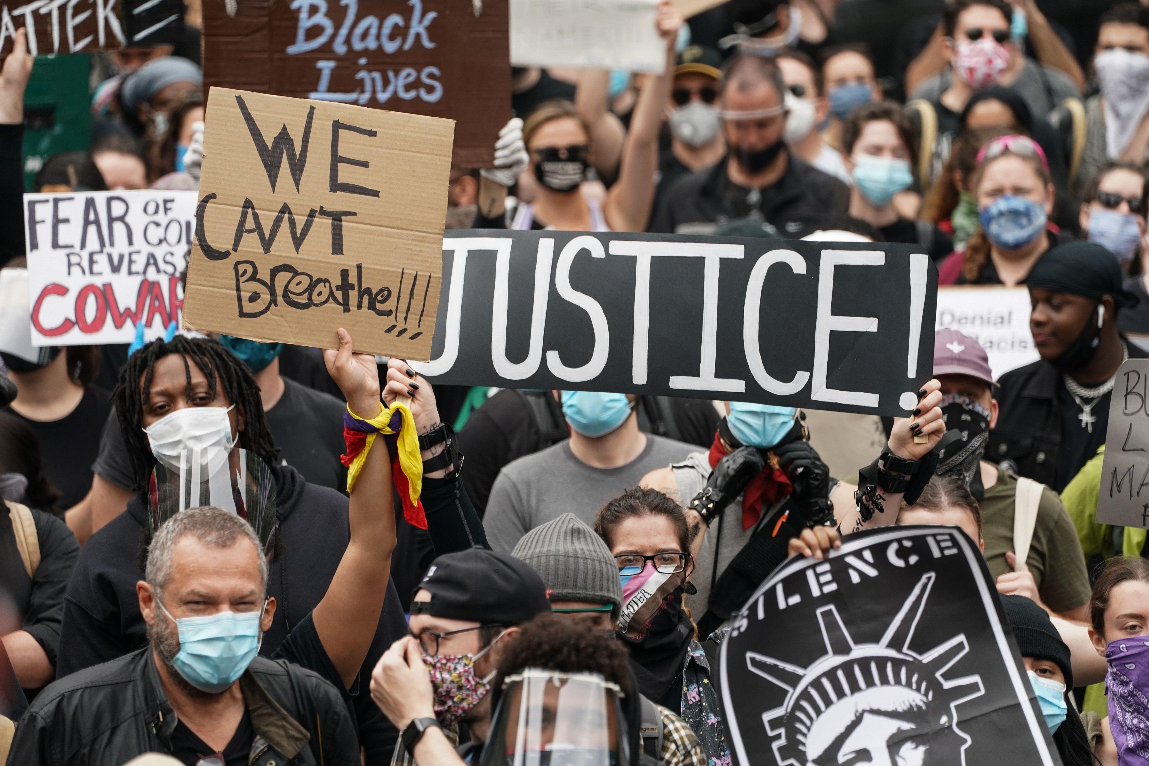 Manifestation contre les violences policières aux Etats-Unis, le 3 juin 2020.