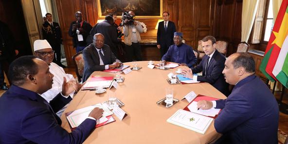 Réunion de soutien au G5 Sahel a Paris, France, en décembre 2017.