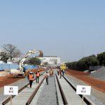 Visite du chantier de la gare du TER, à Dakar, le 2 février 2018.