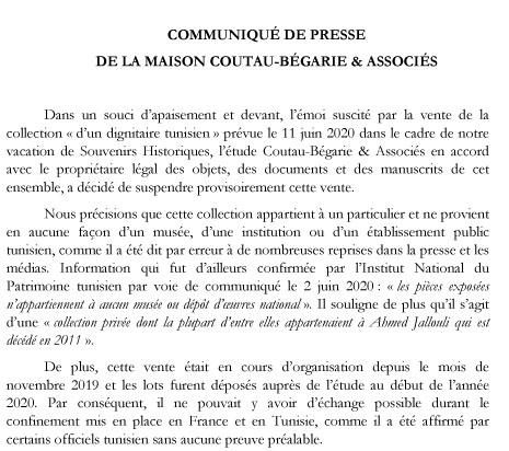 Communiqué Coutau-Bégarie,