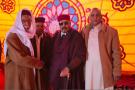 Sanoussi Hileg (au centre), lors de la réunion de chefs de tribus libyennes à l'issue de laquelle la fermeture des puits de pétrole dans l'Est du pays a été décidée, en janvier à Benghazi.