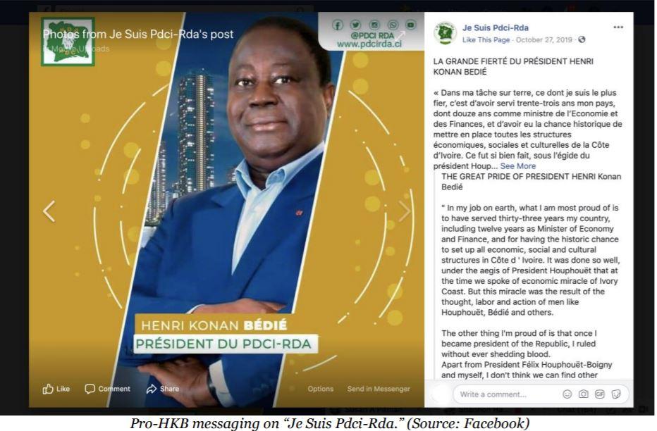 Capture d'cran du rapport du DFRLab représentant une des pages de soutien à Henri Konan Bédié