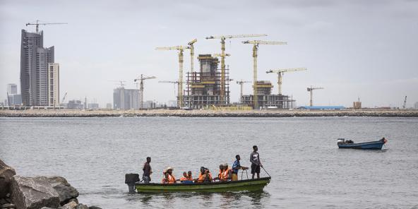 Les travaux d'Eko Atlantic City, à Lagos (Nigeria).