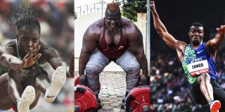 Les athlètes burkinabè Marthe Koala, Iron Biby et Hugues Fabrice Zango.