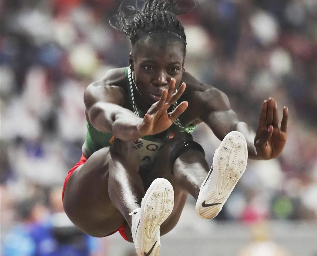 Marthe Kaola, la spécialiste de l'heptathlon, lors d'une épreuve de saut en longueur, à Doha en 2019.