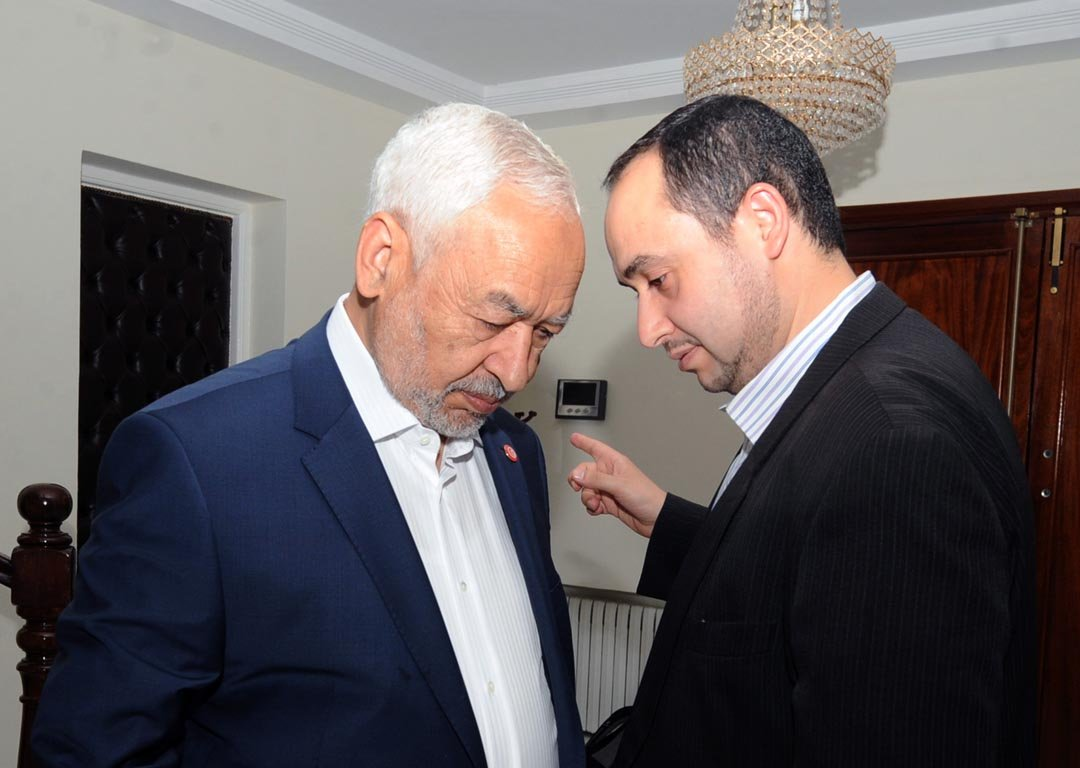 Le président d'Ennahdha, en octobre 2014, à Tunis. Rached Ghannouchi, et son fils Mouadh
