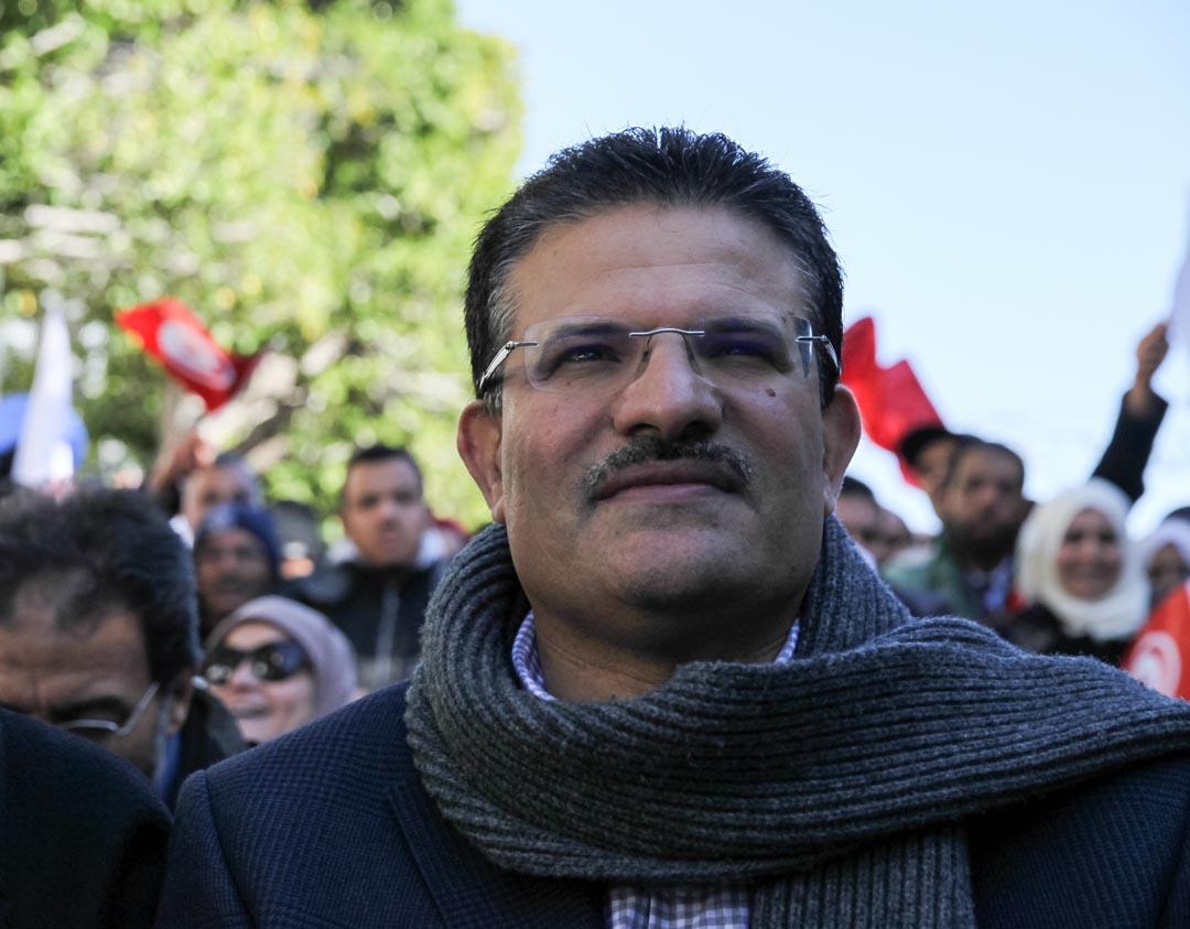 Rafik Abdessalem, ancien ministre tunisien des Affaires étrangères, lors d'un rassemblement d'Ennahdha, à Tunis, en janvier 2018.