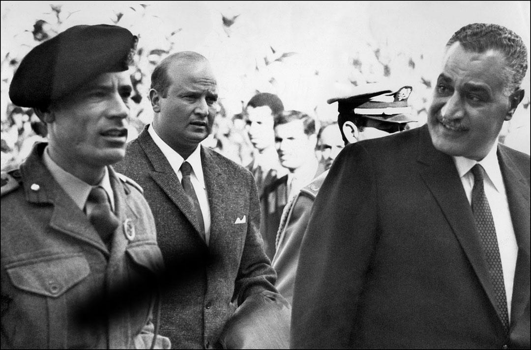 Mouammar Kadhafi et Gamal Abdel Nasser, en décembre 1969, à l'occasion de la conférence arabe de Rabat.