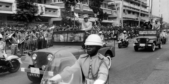Le président Joseph Kasa-Vubu, le 30 juin 1965, lors de la célébration du cinquième anniversaire de l'indépendance du Congo.