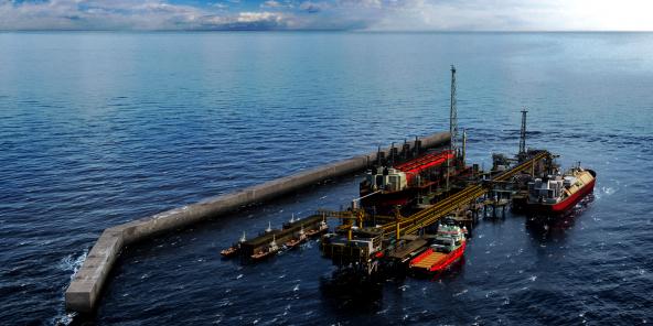 Image de synthèse de la future unité flottante de BP sur le champ gazéifère offshore de Grand Tortue-Ahmeyim.