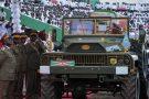 Le véhicule militaire transportant le cercueil de Pierre Nkurunziza lors d'un hommage national à Gitega, le 26 juin 2020.