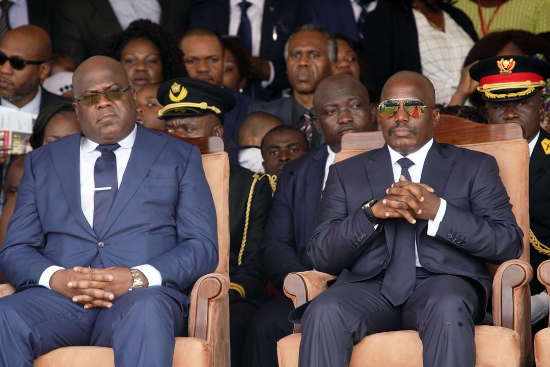 Félix Tshisekedi et Joseph Kabila lors de la cérémonie de prestation de serment du nouveau président de la RDC, le 24 janvier 2019.