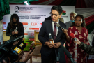Andry Rajoelina présente à la presse le Covid-Organics, le 20 avril 2020, à Antananarivo.