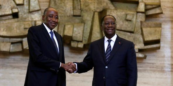 Amadou Gon Coulibaly reçu par le président Ouattara lors de sa nomination comme Premier ministre, en janvier 2017.