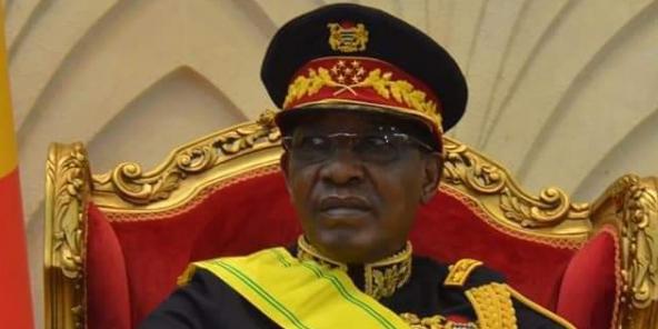 Idriss Déby Itno, à l'Assemblée nationale le 11 août, lors de la cérémonie l'élevant au grade de Maréchal du Tchad, organisée à l'occasion du 60e anniversaire de l'indépendance du pays.