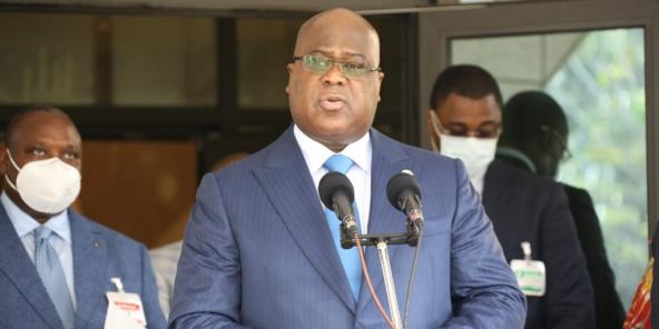 Félix Tshisekedi, lors d'une visite officielle à Brazzaville, le 16 juillet 2020.