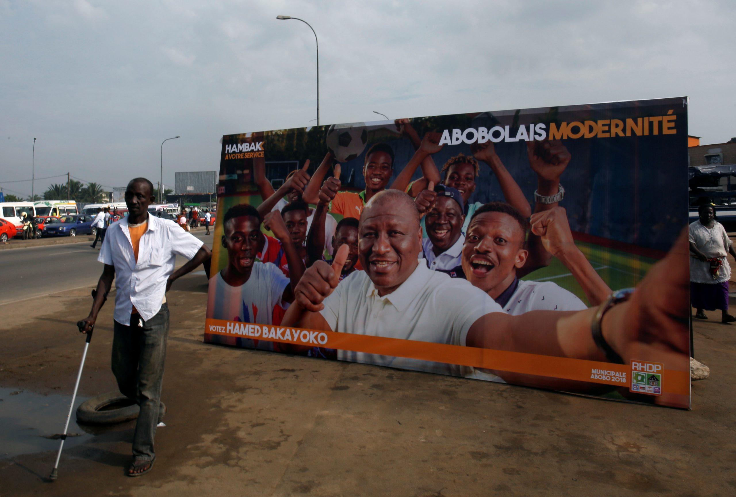 Une affiche d'Hamed Bakayoko, lors de la campagne des élections locales à l'issue de laquelle il l'a emporté à Abobo.