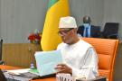 Le président malien Ibrahim Boubacar Keïta lors de la visioconférence entre chefs d'États de la Cedeao, le lundi 27 juillet 2020