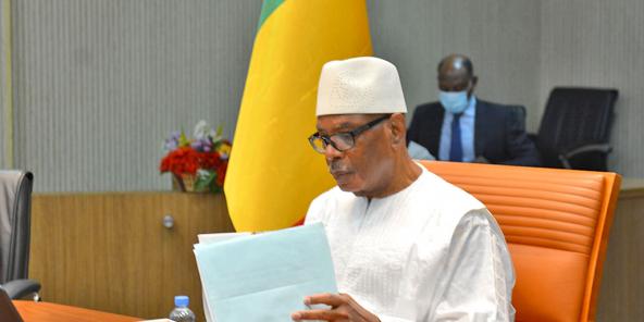Le président malien Ibrahim Boubacar Keïta lors de la visioconférence entre chefs d'États de la Cédeao, le lundi 27 juillet.