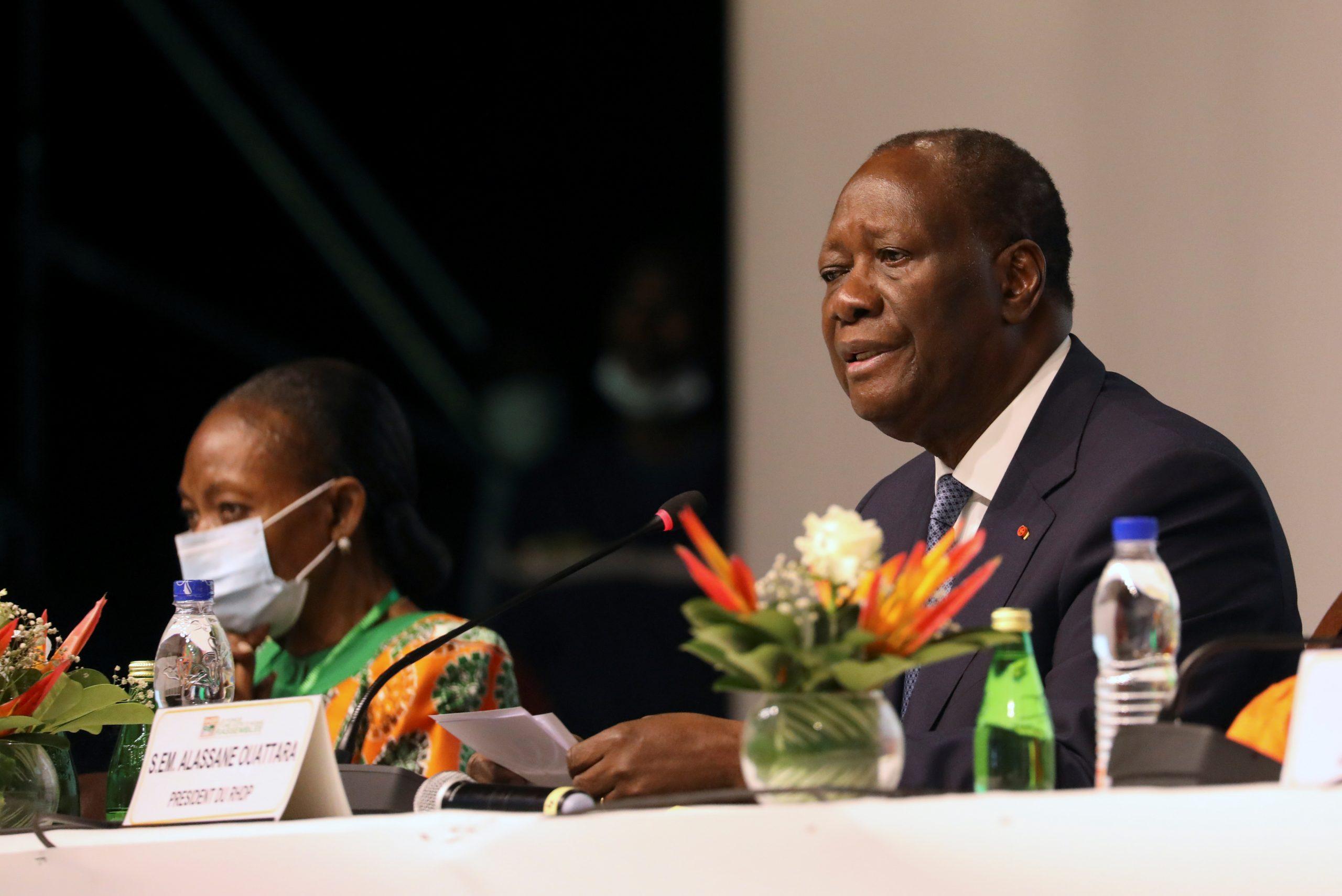 Alassane Ouatarra, lors du meeting du RHDP à Abidjan, le 29 juillet 2020.