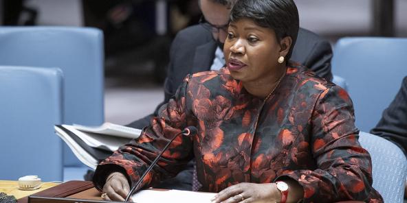La procureure de la CPI, Fatou Bensouda, au conseil de sécurité de l'ONU.