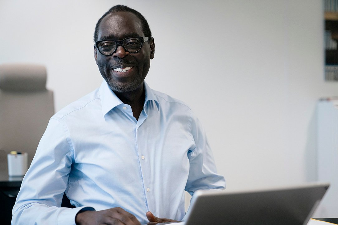 Alioune Ndiaye, PDG d'Orange Africa, à Paris, en 2018