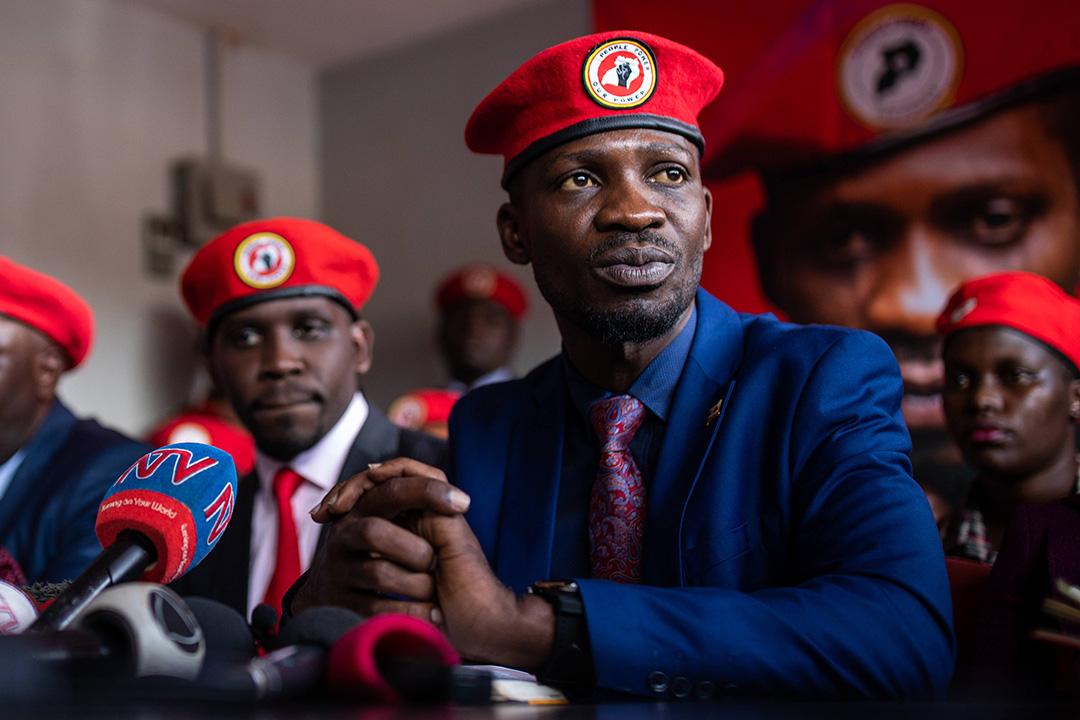 Bobi Wine, lors d'une conférence de presse à Kampala, le 26 novembre 2019.