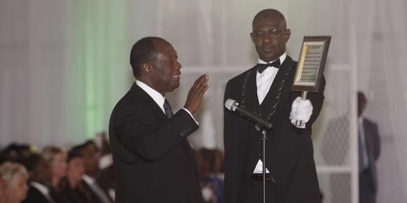 Alassane Ouattara, lors de sa prestation de serment pour son second mandat à la tête de la Côte d'Ivoire, le 3 novembre 2015.