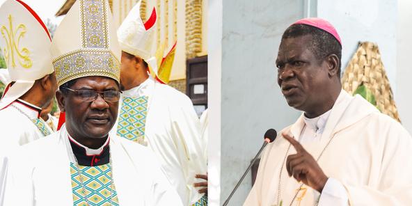 L'archevêque de Yaoundé, Jean Mbarga (g), et celui de Douala, Jean Mbarga (d.)