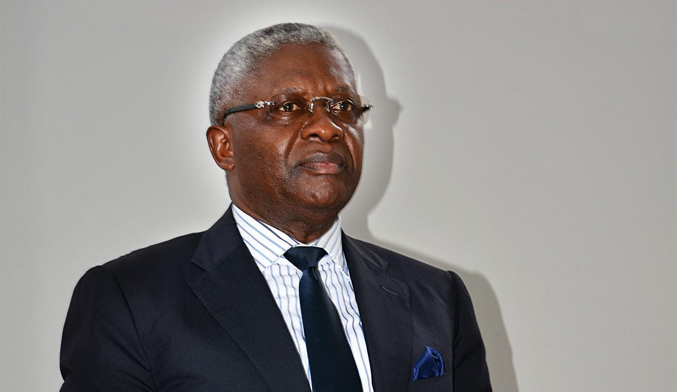 Pascal Tsaty Mabiala, secrétaire général de l'Union Panafricaine pour la démocratie sociale (UPADS) à Brazzaville en 2016.