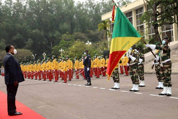Denis Sassou N'Guesso le 15 août 2020 revue des troupes, commémoration des 60 ans d'indépendance