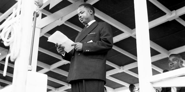Discurs del primer ministre Ahmadou Ahidjo, l'1 de gener de 1960, a Yaoundé.
