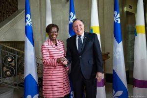 Louise Mushikiwabo (OIF), et le Premier ministre québécois, François Legault, à Québec, le 11 juin 2019.