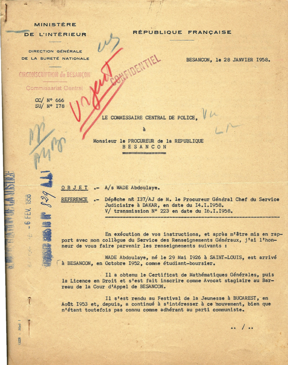 Le courrier du commissaire de police au procureur de Besançon sur les