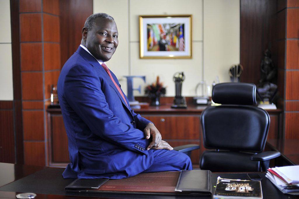 James Mwangi, dirigeant d'Equity Group Holdings Ltd., dans son bureau à Nairobi, au Kenya, le 22 août 2016.